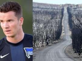 Un footballeur évoque les incendies en Australie. HerthaBSC/EFE