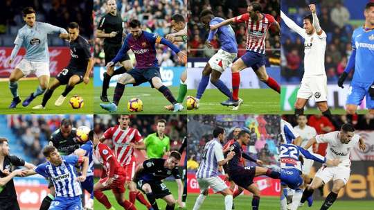 Collage con varias imágenes de la jornada 12 de Liga en España. EFE
