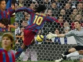 Ronaldinho brilhou no Bernabéu. EFE/CapturasTV
