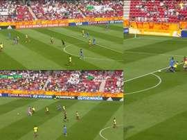 El error del torneo. Collage/DirecTVSports