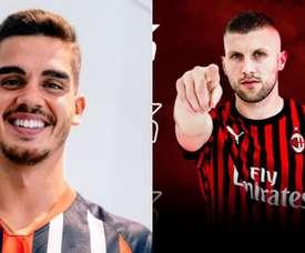 Milan e Eintracht trocam André Silva por Rebic. Collage/ACMilan/Eintracht