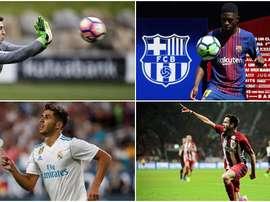 Collage de'Asensio, Kepa, Dembélé et Saúl. BeSoccer