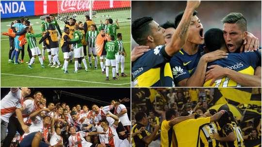 Collage de l'Atletico Nacional, RIver Plate, Boca Juniors, Peñarol, Olimpia et Nacional. BeSoccer