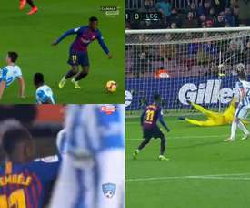 Dembéle marcou ao Leganés. Canal+/Movistar+/ElevenSports
