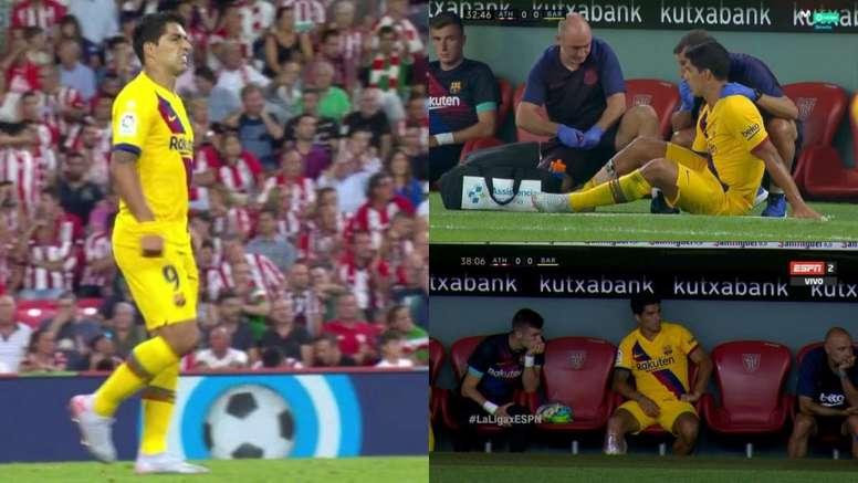 Suárez se hizo daño en el gemelo derecho. Movistar+/ESPN