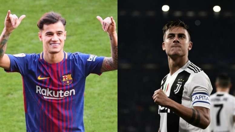 La Juve quiere un trueque Dybala-Coutinho. EFE/AFP