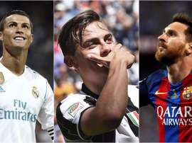 Collage de Cristiano, Dybala et Messi. BeSoccer