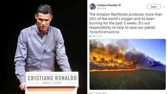 Cristiano Ronaldo pede ajuda contra queimadas na Amazônia. Collage/Cristiano