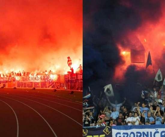 En el estadio se pudieron ver fuegos artificiales, bengalas y muchas pancartas. Twitter