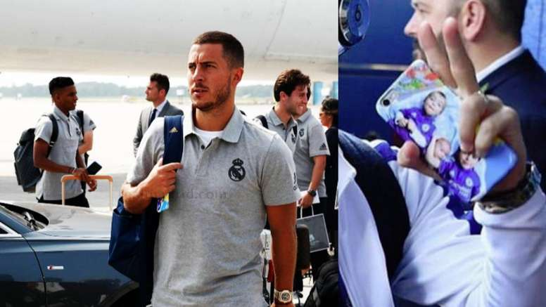 Hazard todavía lleva al Chelsea en su móvil. Collage/RealMadrid