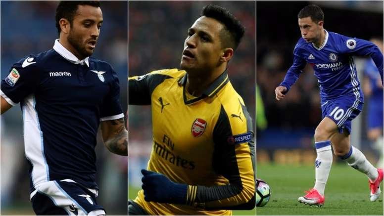 Collage de Felipe Anderson, Alexis Sánchez et Hazard. BeSoccer