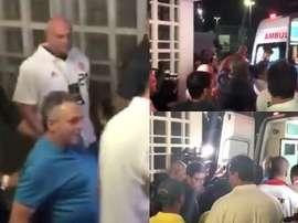 El entrenador de Flamengo tuvo que ser atendido. Captura/RenanMouraGlobo
