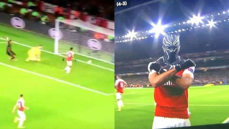 Aubameyang firmó el tercero de la noche para el Arsenal con dedicatoria incluida. Captura/Movistar
