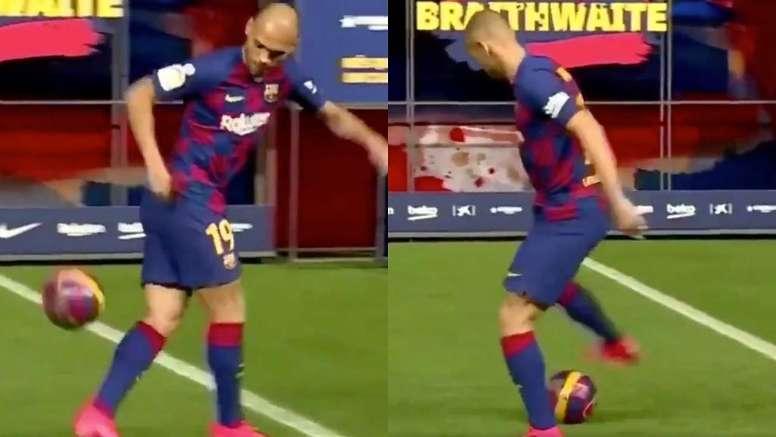 Braithwaite lo intentó sin éxito. Captura/FCBarcelona