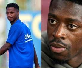 Dembélé ou Ansu Fati, quem completará o trio? Montaje/BeSoccer
