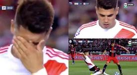 El adiós de Palacios: entrada salvaje, roja y lágrimas. Captura/TNTSports