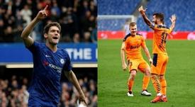 El Barça le busca relevo a Alba: gustan Marcos Alonso y Gayà. Montaje/LaLiga/AFP