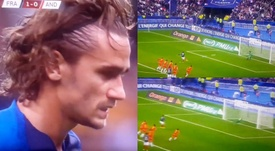 Griezmann missed his second penalty in a row. Captura/TF1