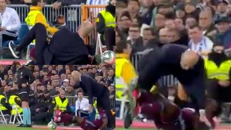 Zidane envoyé au sol par Aidoo. Capture/beINSports