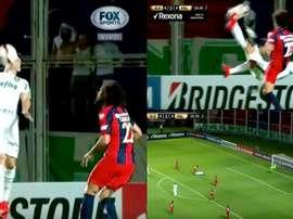 Exquisita chilena de Moisés, que no pudo culminarla con gol. Captura/FOXSports