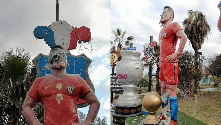 Destrozaron la cara de la estatua de Alexis. Captura/TocopillaOnline