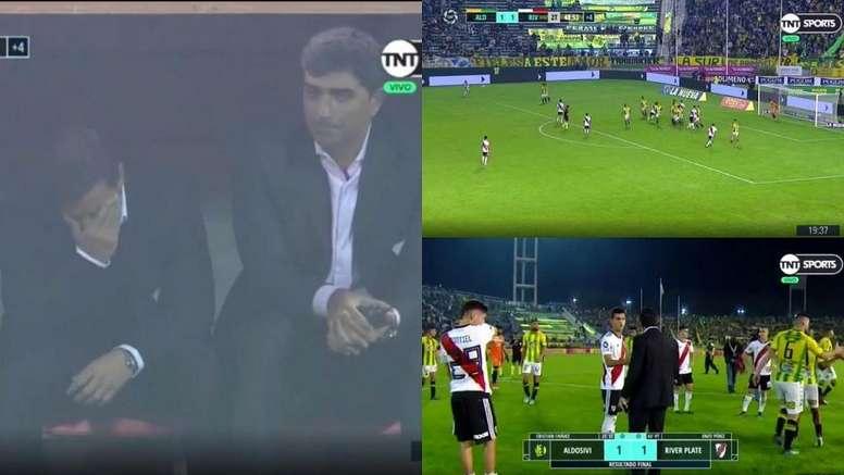 Gallardo le negó el saludo a Cristian Ferreira. Captura/TNTSports