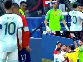 Os melhores memes da expulsão de Messi e Medel. Captura/DAZN