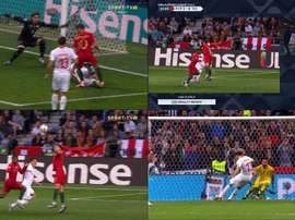 Apitou penálti para Portugal, anulou-o e assinalou penálti para a Suíça. Captura/SportTV