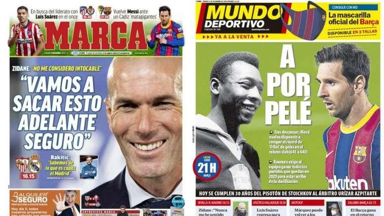 Les Unes des journaux sportifs en Espagne du 5 décembre 2020. MD/Marca