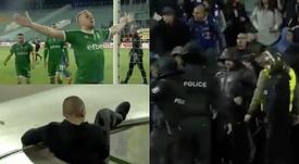 Cosmin Moti provocó a la afición rival y los radicales fueron a buscarlo. Captura/DiemaSport