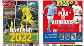 As capas da imprensa esportiva de 6 de novembro de 2020. AS/MundoDeportivo