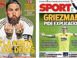 Les Unes des journaux sportifs en Espagne du 3 juillet 2020. AS/Sport