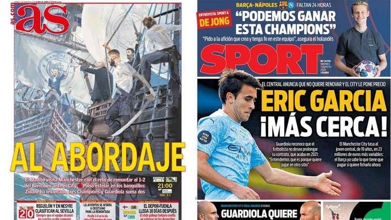 As capas da imprensa esportiva. Sport/AS