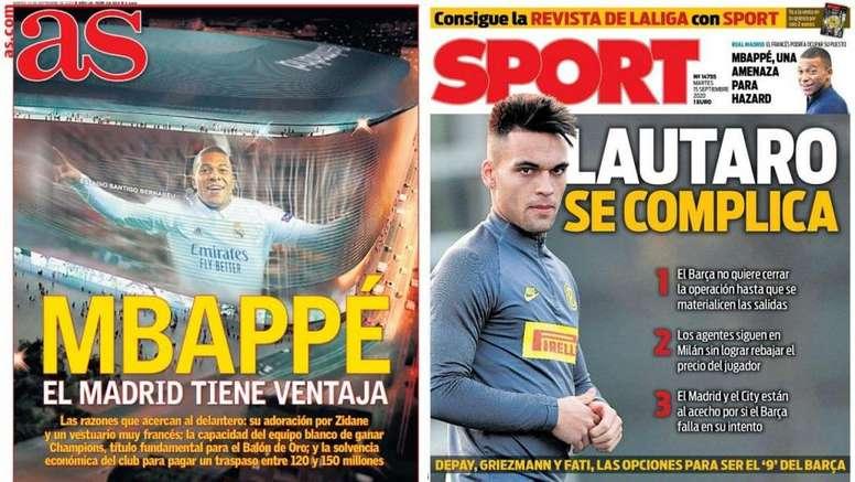 Capas dos jornais espanhóis AS e Sport nesta terça-feira. AS/Sport