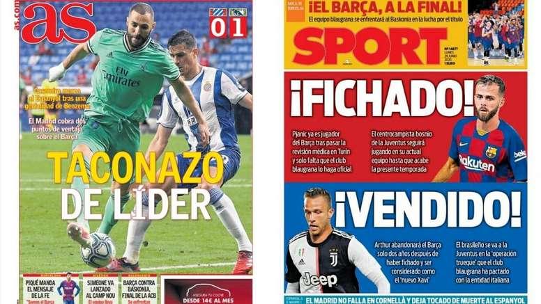 Les Unes des journaux sportifs en Espagne du 29 juin 2020. AS/Sport