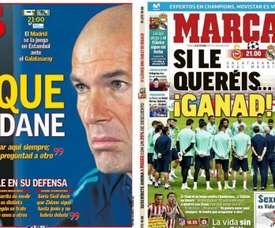 Les Unes d'AS et Marca. Montage/AS/Marca