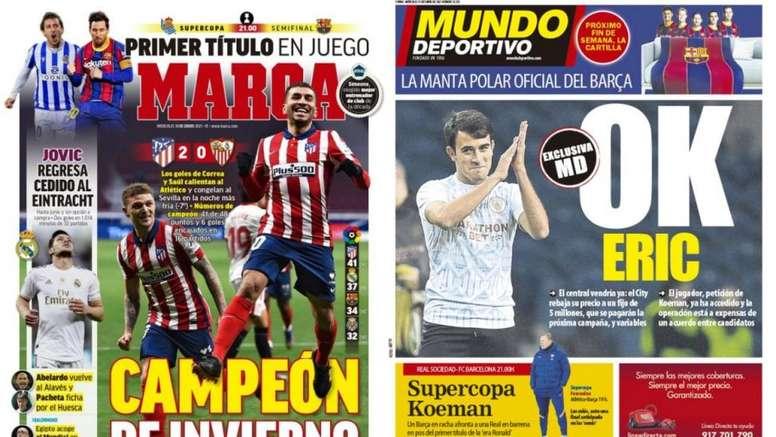 As capas da imprensa esportiva de 13 de janeiro de 2021. Marca/MD