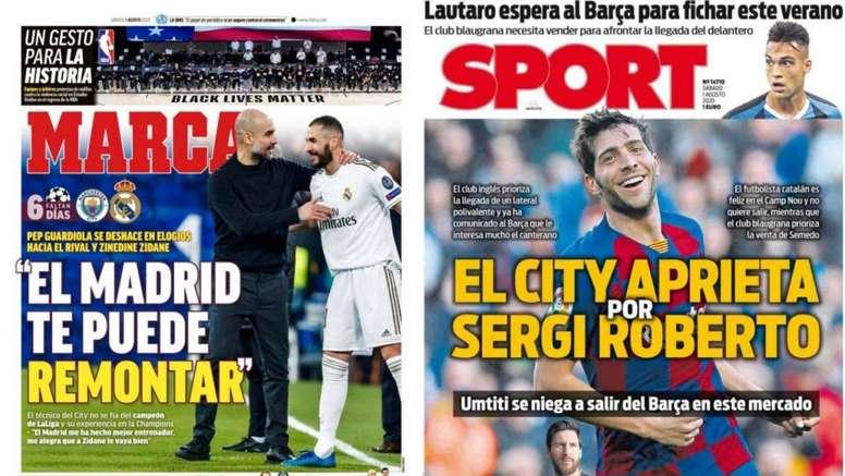 Portadas de Sport y Marca del 01-08-2020. Marca/Sport