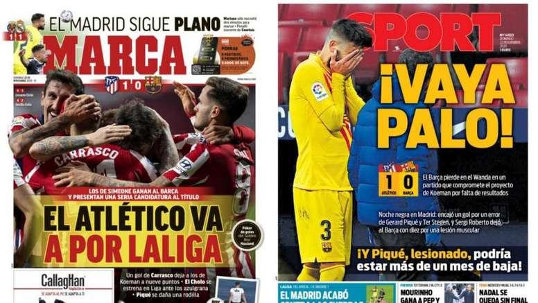 Portadas de la prensa deportiva del 22-11-20. Marca/Sport