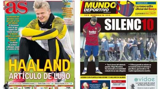 Portadas de la prensa deportiva del 28-11-20. AS/MD