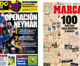 Capas dos jornais espanhóis Mundo Deportivo e Marca.