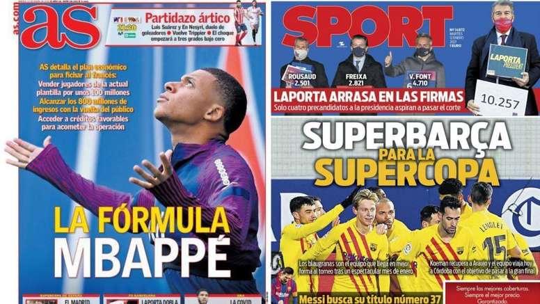 Portadas de la prensa deportiva del 12-01-21. Sport/AS