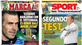 Capas dos jornais espanhóis Sport e Marca. Marca/Sport
