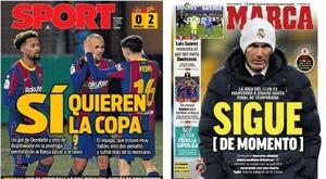 As capas da imprensa esportiva de 22 de janeiro de 2021. Marca/Sport