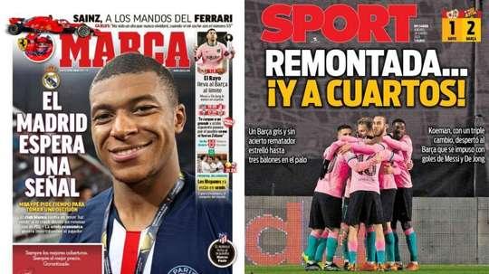 Portadas de la prensa deportiva del 28-01-21. Sport/Marca