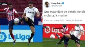 La indignación de Futre por el penalti no pitado a Lemar. Captura/PauloFutre/MovistarLaLiga