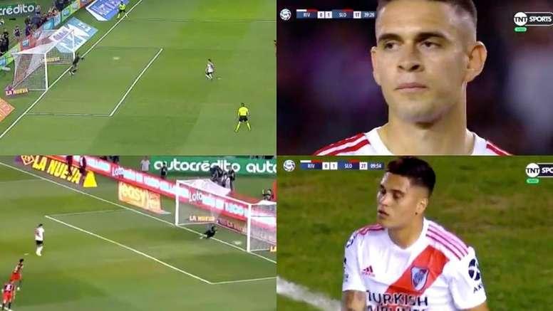 Mala suerte para Borré y Quintero. Captura/TyCSports