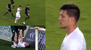 Luka Jovic scored and then suffered an injury scare towards the end. Captura