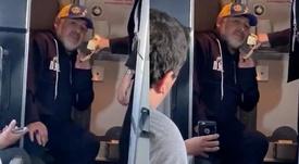 Maradona dá discurso no avião. Captura