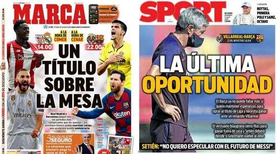 Les Unes des journaux sportifs en Espagne du 5 juillet. Marca/Sport